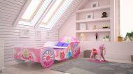 Mama Kiddies 140x70-as gyerekágy hintó dizájnnal - rózsaszín mintával - matraccal