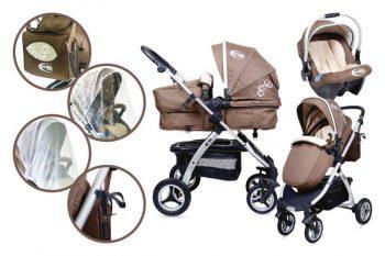 Mama Kiddies BabyBird Lift 3az1-ben babakocsi kiegészítőkkel barna színben + Ajándék