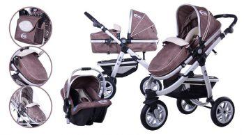 Mama Kiddies BabyBird  3 az 1-ben babakocsi kiegészítőkkel barna színben + Ajándék