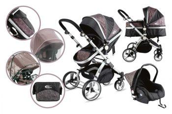 Mama Kiddies Prémium Plus Baby 3 az 1-ben babakocsi kiegészítőkkel fekete-zebra színben + Ajándék