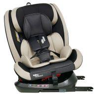 ISOFIX-es 360°-ban forgatható Mama Kiddies Rotary Protect GT biztonsági autósülés (0-36 kg) bézs színben ajándék napvédővel