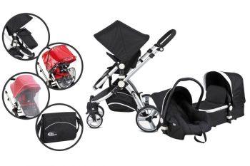 Mama Kiddies Prémium Baby 3 az 1-ben babakocsi  kiegészítőkkel fekete-fehér színben + Ajándék