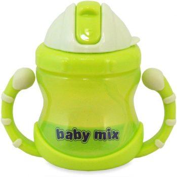 1 db Baby Mix 200 ml-es zöld itatópohár szívószállal