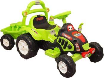 Elektromos utánfutós traktor a Baby Mix-től zöld színben