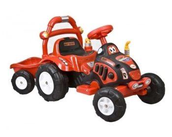 Elektromos utánfutós traktor a Baby Mix-től piros színben