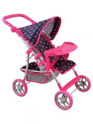 Rózsaszín pöttyös baba babakocsi