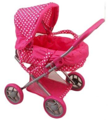 Rózsaszín fehér pöttyös baba babakocsi