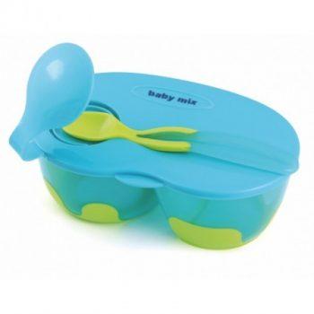 Kétrekeszes zárható babaetető tányér kanállal