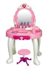 Játék classic fésülködő asztal székkel tükörrel, hajszárítóval és sok játékkal
