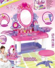 Játék beauty fésülködő asztal székkel tükörrel, hajszárítóval és sok játékkal