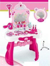 Játék princess fésülködő asztal tükörrel, hajszárítóval és sok játékkal