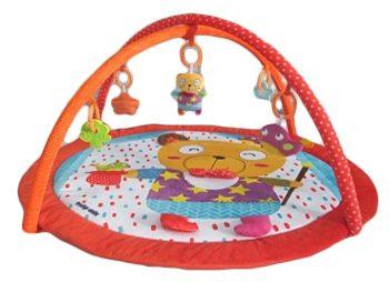 Baby Mix piros szélű kerek macis játszószőnyeg