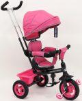 Baby Mix Rider tricikli tolókarral és lábtartóval pink színben (360°-ban forgatható ülés)