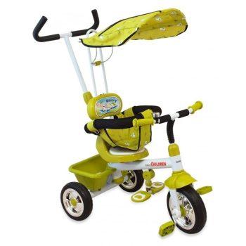 Baby Mix Trike prémium tricikli tolókarral és lábtartóval zöld színben
