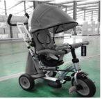 Baby Mix 360 Turbo tricikli tolókarral és lábtartóval sötétszürke színben (360°-ban forgatható ülés)
