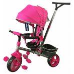 Baby Mix Tour Trike tricikli tolókarral és lábtartóval pink színben (360°-ban forgatható ülés)