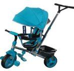 Baby Mix Tour Trike tricikli tolókarral és lábtartóval türkíz színben (360°-ban forgatható ülés)