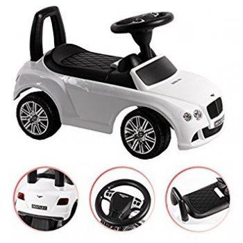Baby Mix Bentley lábbal hajtható zenélő autó gyerekeknek fehér színben