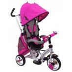 Baby Mix 360 Turbo tricikli tolókarral és lábtartóval pink színben (360°-ban forgatható ülés)