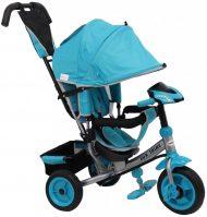 Baby Mix Lux Trike tricikli tolókarral és lábtartóval türkiz színben (zenélő műszerfal és fények)
