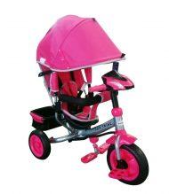 Baby Mix Lux Trike tricikli tolókarral és lábtartóval pink színben (zenélő műszerfal és fények)