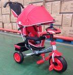 Baby Mix Lux Trike tricikli tolókarral és lábtartóval piros színben (zenélő műszerfal és fények)