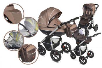 Mama Kiddies Dream 3az1-ben multifunkciós babakocsi kiegészítőkkel barna színben + Ajándék
