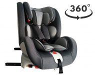 ISOFIX-es 360°-ban forgatható MamaKiddies Rotary biztonsági autósülés (0-36 kg) szürke színben + ajándék