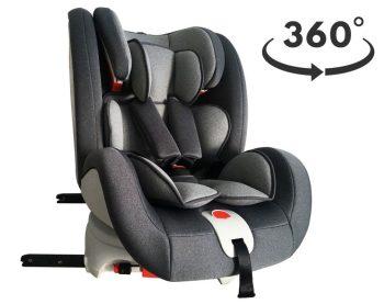 ISOFIX-es 360°-ban forgatható Mama Kiddies Rotary biztonsági autósülés (0-36 kg) szürke színben + ajándék