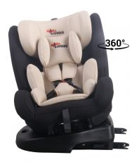 ISOFIX-es 360°-ban forgatható MamaKiddies Angel Rotary biztonsági autósülés (0-36 kg) bézs színben