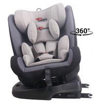 ISOFIX-es 360°-ban forgatható MamaKiddies Angel Rotary biztonsági autósülés (0-36 kg) szürke színben