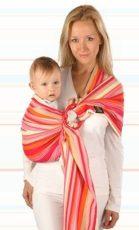 Womar Hug me szürke narancs - piros csíkos hordozókendő karikával